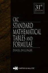 CRC Standard Mathematical Tables and Formulae, 31st Edition by Daniel Zwillinger