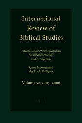 International Review of Biblical Studies, Volume 52 (2005-2006) by Bernhard Lang