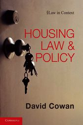Housing Law and Policy by David Cowan