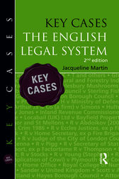 Key Cases: the English Legal System by Jacqueline Martin